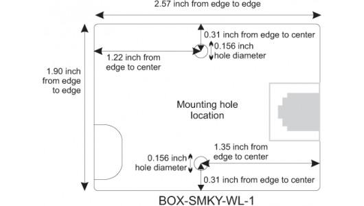 Mounting Hole Location for Keystone Surface Mount Box, 1-Port