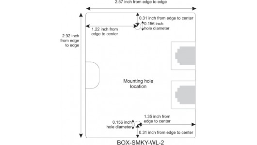 Mounting Hole Location for Keystone Surface Mount Box, 2-Port
