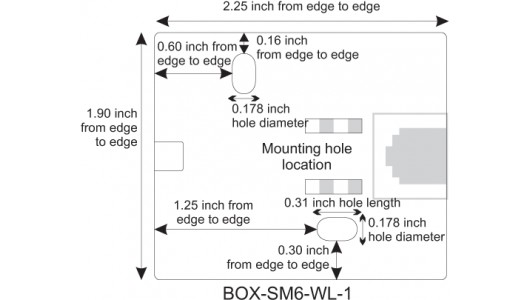 Mounting Hole Location for CAT6 Surface Mount Box, 1-Port