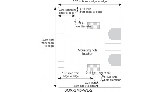 Mounting Hole Location for CAT6 Surface Mount Box, 2-Port