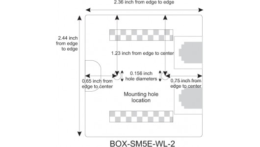 Mounting Hole Location for CAT5e Surface Mount Box, 2-port