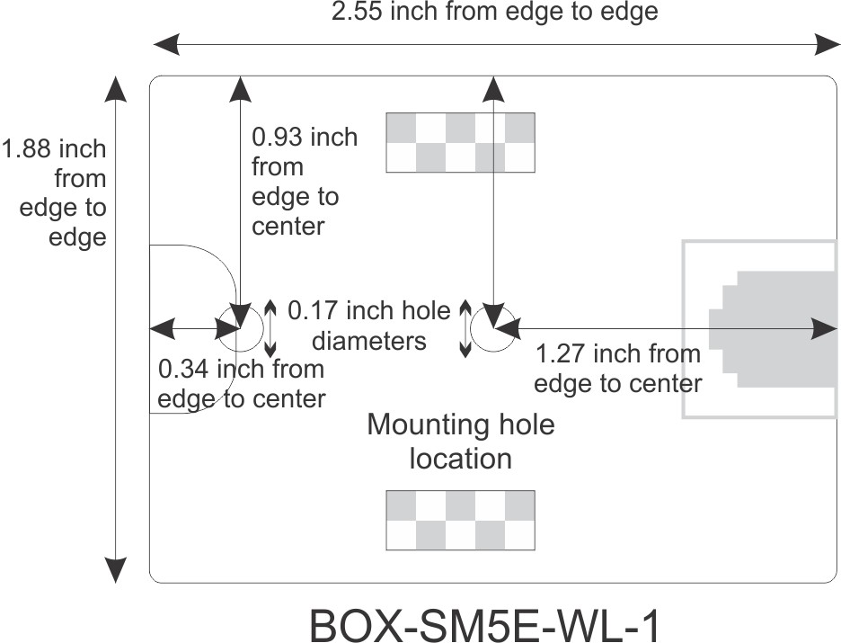 Mounting Hole Location for CAT5e Surface Mount Box, 1-port