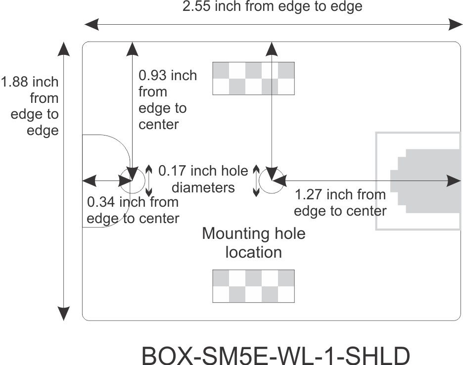 Mounting Hole Location for CAT5e Shielded Surface Mount Box, 1-port