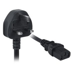17 AWG British Power Cord, UK BS1363 to IEC320 C13