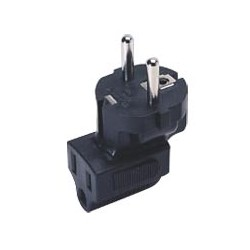 Schuko CEE 7/7 to NEMA 5-15R Down Angled Power Plug Adapter