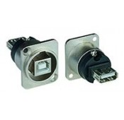 USB Panel Mount Feedthrough D-Series Connector, Type B female to Type A female