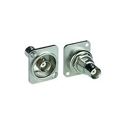 BNC Isolated Bulkhead Panel Mount Jack, D-Series Housing, Nickel