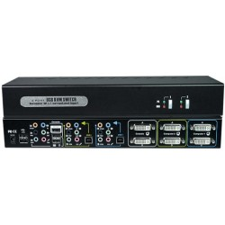 Dual Monitor DVI USB KVM Switch with Surround Sound, 2-Port