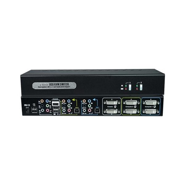 Dual Monitor DVI USB KVM Switch with Surround Sound, 2-Port