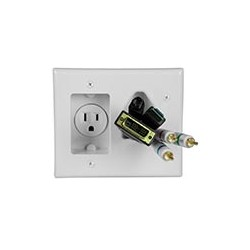 Recessed Power and Cable Pass-Through Wall Plate