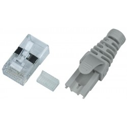 CAT6a Shielded RJ45 Plug with Snagless, Strain-Relief Boot for 24-26 AWG Solid/Stranded Cable
