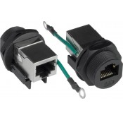 "Waterproof Case Side CAT5e RJ45 Connector, with Shielded Jack and Grounding Wire 13/16"" - 28 UN threading"