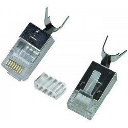 CAT6a Shielded RJ45 Plug with Cable Clip for 23-26 AWG Solid/Stranded Cable