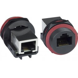CAT5e Waterproof RJ45 Connector with Backside Jack, Case Side