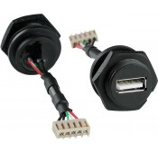 Waterproof USB Type A Female Connector, with Panel Mount, Screw Mating Style, & Flying Leads