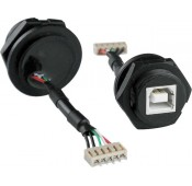 Waterproof USB Type B Female Connector, with Panel Mount, Screw Mating Style, & Flying Leads