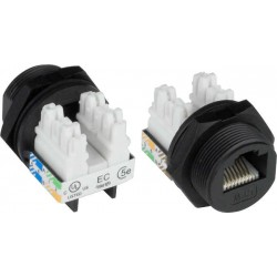 "Waterproof Case Side CAT5e RJ45 Connector, with IDC Termination Block 13/16"" - 28 UN threading"