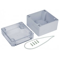 Weatherproof Enclosure, IP65, ABS, Clear Cover, 4.72x4.72x3.54""