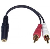 3.5mm Stereo Female Jack / Dual RCA Male Plug Adapter Y-Cable