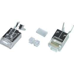CAT6 Shielded Stranded RJ45 Plug with Cable Clip for 24-26 AWG Cable