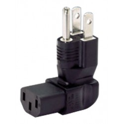 NEMA 5-15P to IEC 320 C13 Down Angled Power Plug Adapter