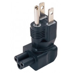 NEMA 5-15P to IEC 320 C5 Down Angled Power Plug Adapter