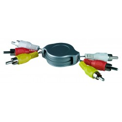 Retractable RCA Composite Video + Stereo Audio, Male to Male,  4.9 ft