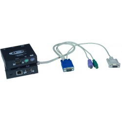 VGA PS2 KVM + RS232 Extender via CAT5 Cable, 600'