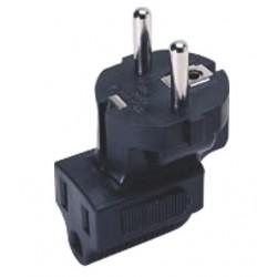 Schuko CEE 7/7 to NEMA 5-15R Down Angled Power Plug Adapter
