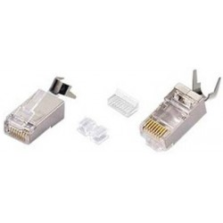CAT6 Shielded Solid RJ45 Plug with Cable Clip for 24-26 AWG Cable