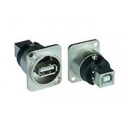 USB Panel Mount Feedthrough D-Series Connector, Type A female to Type B female