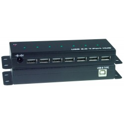 Industrial USB 2.0 Hub, 7 Port, Self/Bus-Powered