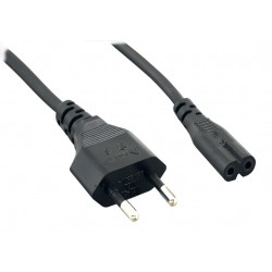 18 AWG European 2-Conductor Power Cord, Europlug CEE 7/16 to IEC320 C7