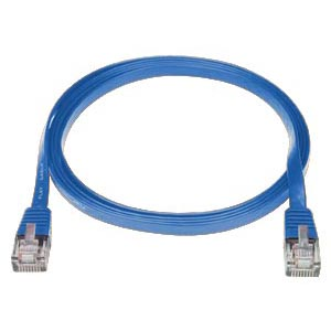 RJ45 male-male, CAT5E super flat blue, 1 foot