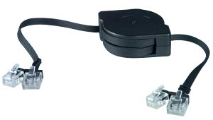 RJ11/RJ45 Retractable Cable, Male to Male, 6.5 feet