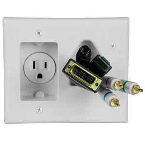 Recessed Power and Cable PassThrough Wall Plate